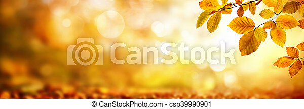 Autumn leaves on shimmering blurred background - csp39990901