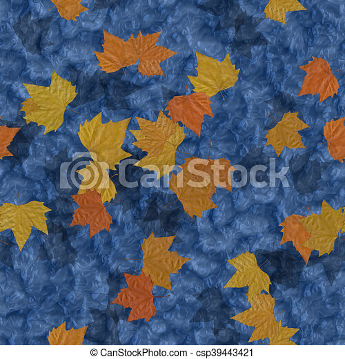 Autumn leaves on water seamless generated texture background - csp39443421