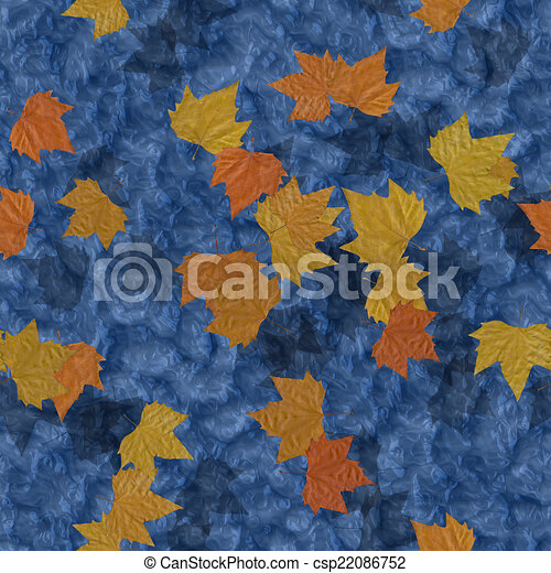 Autumn leaves on water seamless generated texture background - csp22086752