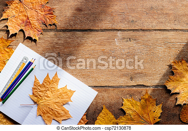 Autumn leaves on wooden background with copy space. Wallpaper for September 1. - csp72130878
