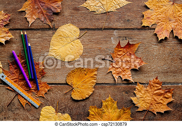 Autumn leaves on wooden background with copy space. Wallpaper for September 1. - csp72130879