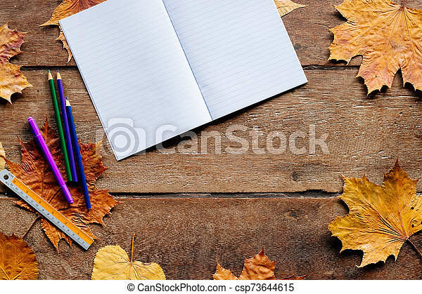 Autumn leaves on wooden background with copy space. Wallpaper for September 1. - csp73644615