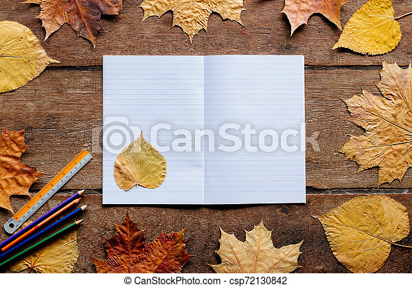 Autumn leaves on wooden background with copy space. Wallpaper for September 1. - csp72130842