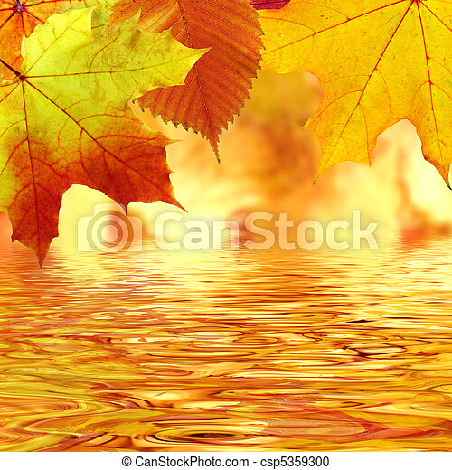 Autumn leaves over water - csp5359300