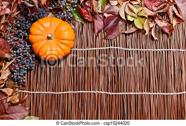 Autumn leaves over wooden backgroun - csp15244020