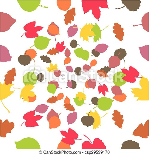 Autumn leaves, seamless background  - csp29539170