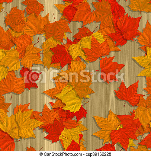 Autumn leaves seamless generated texture background - csp39162228