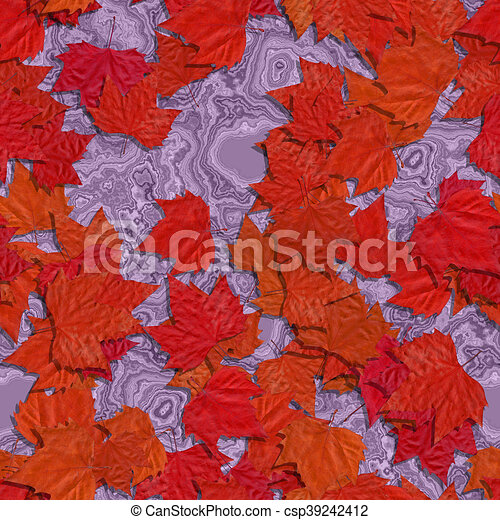 Autumn leaves seamless generated texture background - csp39242412