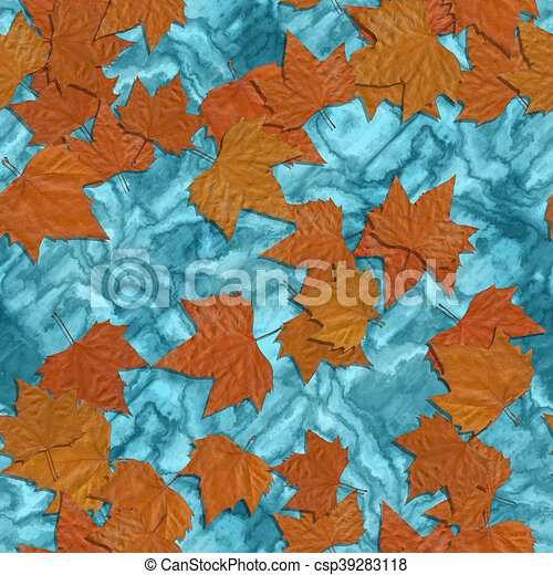 Autumn leaves seamless generated texture background - csp39283118