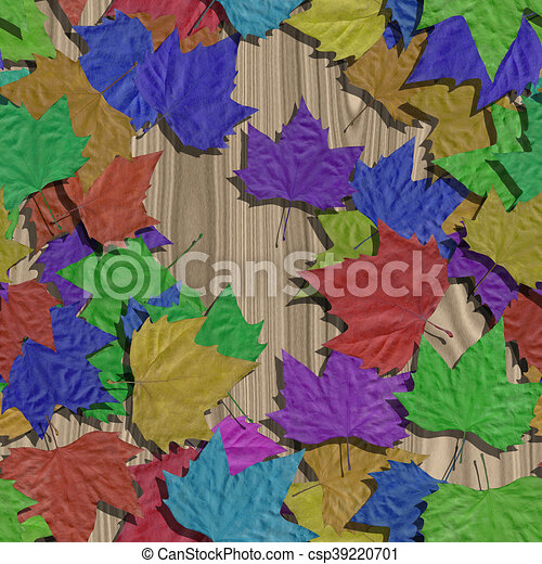 Autumn leaves seamless generated texture background - csp39220701