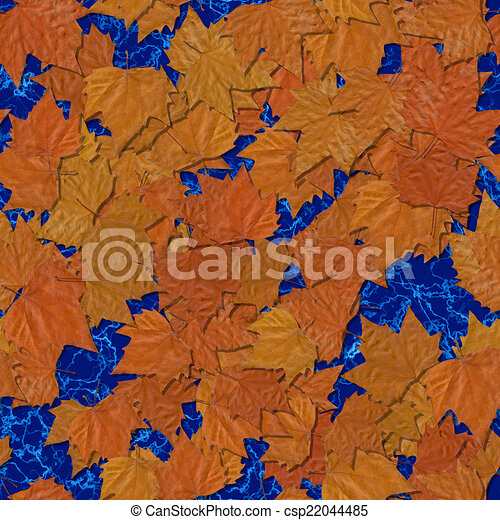 Autumn leaves seamless generated texture background - csp22044485