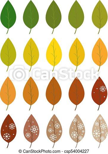 Autumn leaves set  Green summer white winter
