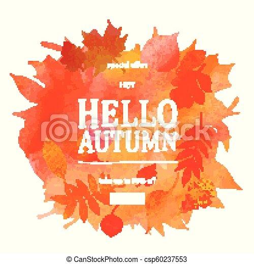 autumn leaves watercolor texture fall leaf sale lettering design