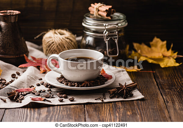 Autumn Leaves with Cup of Coffee. - csp41122491