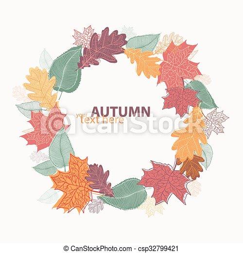 Autumn leaves wreath - csp32799421