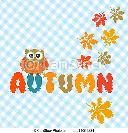 Autumn lettering with cute owl  - csp11058234