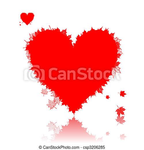 Autumn love, heart shape, leaf - csp3206285