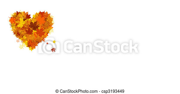Autumn love, heart shape, leaf - csp3193449