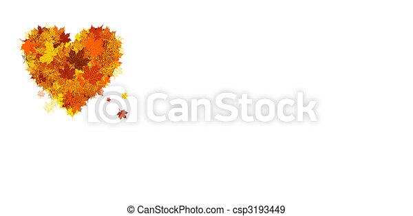 Autumn love, heart shape, leaf - csp3193449