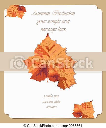 Autumn maple leaves card vector invitation background fall season autumn maple leaves card vector invitation stopboris Images