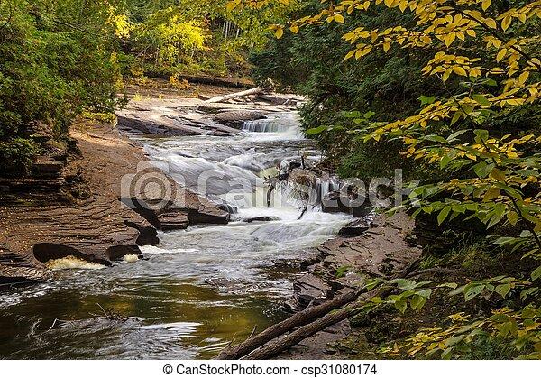 Autumn Michigan Waterfall - csp31080174