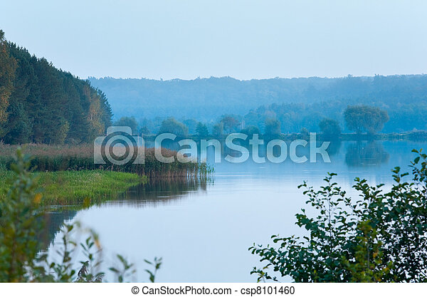 Autumn misty evening lake - csp8101460