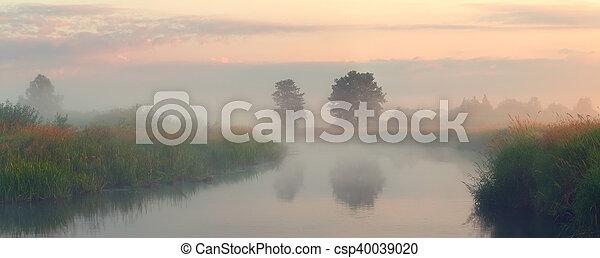 Autumn misty morning on the lake - csp40039020