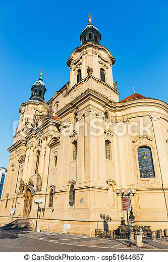 Autumn morning on the Old Town square in Prague, capital of Czech Republic - csp51644657