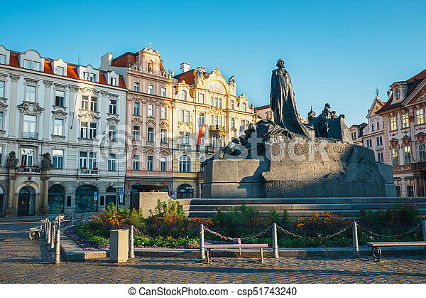 Autumn morning on the Old Town square in Prague, capital of Czech Republic - csp51743240
