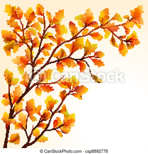 Autumn oak branch - csp8892778