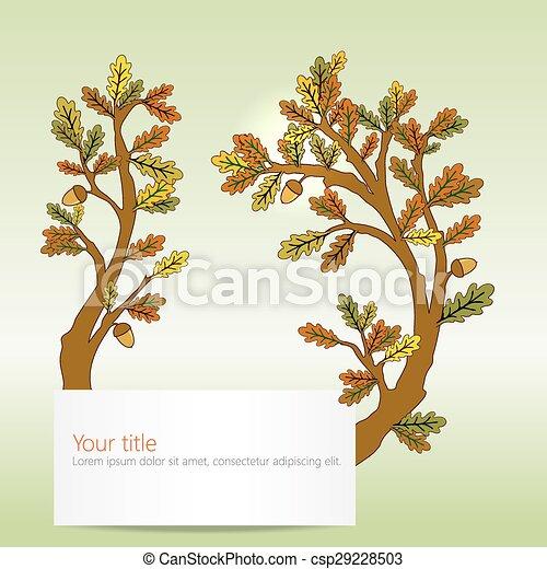Autumn Oak leaves banner - csp29228503