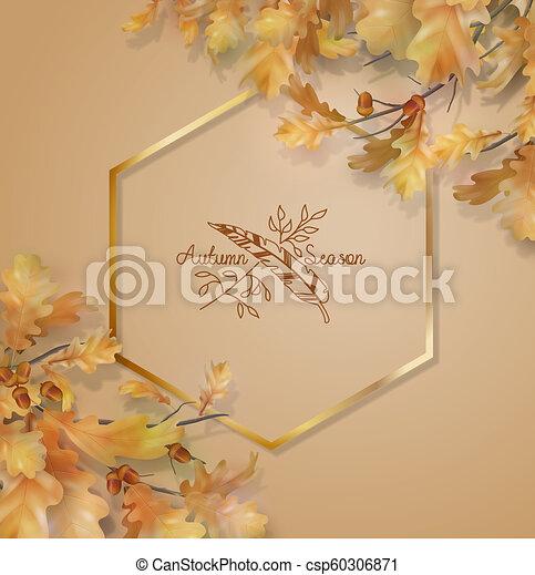 Autumn oak leaves branch - csp60306871
