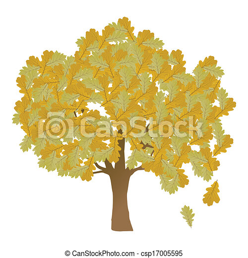 Autumn oak tree leaves vector background - csp17005595
