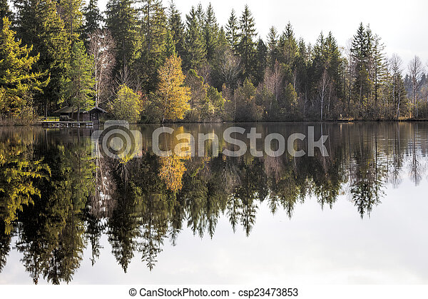 Autumn on a lake in Bavaria, Germany - csp23473853