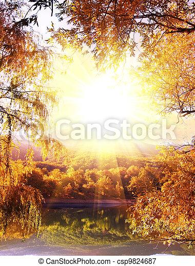 Autumn on lake - csp9824687