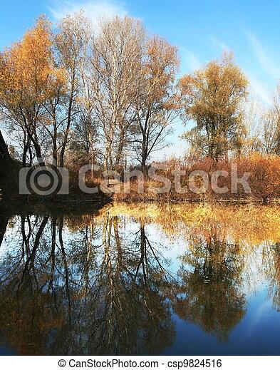 Autumn on lake - csp9824516
