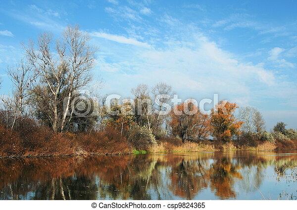 Autumn on lake - csp9824365