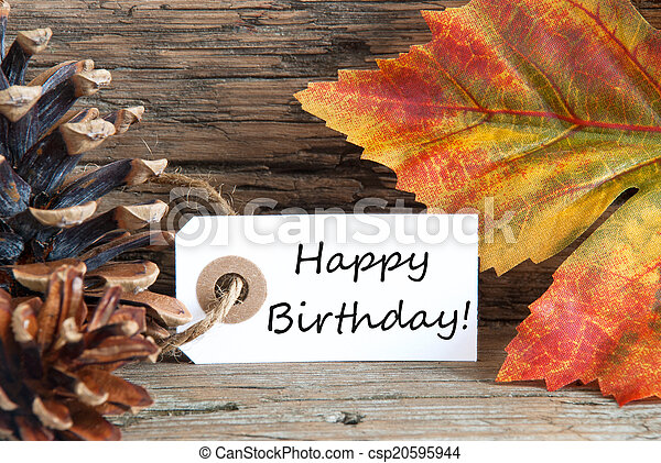 Autumn or Fall Background with Happy Birthday - csp20595944