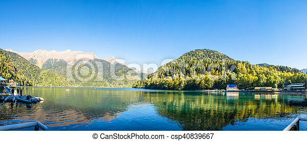 Autumn panorama of the lake Ritsa, Abkhazia. - csp40839667