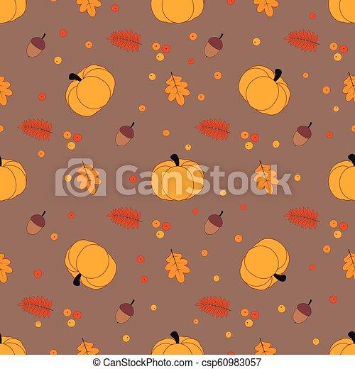 Autumn Pattern With Pumpkin Autumn Seamless Pattern With Pumpkin Oak Leaves Rowan And Acorns Simple Floral Wallpaper