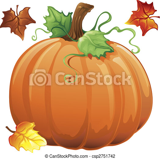 pumpkin drawing with leaves. autumn pumpkin - csp2751742 drawing with leaves can stock photo