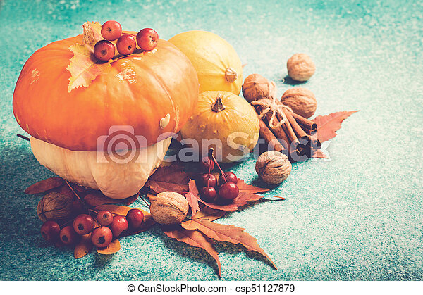 Autumn pumpkin Thanksgiving composition with leaves and nuts - csp51127879