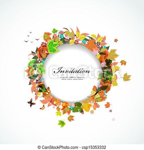Autumn round frame for your design - csp15353332