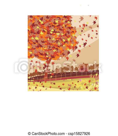 Autumn rural landscape illustration - csp15827926