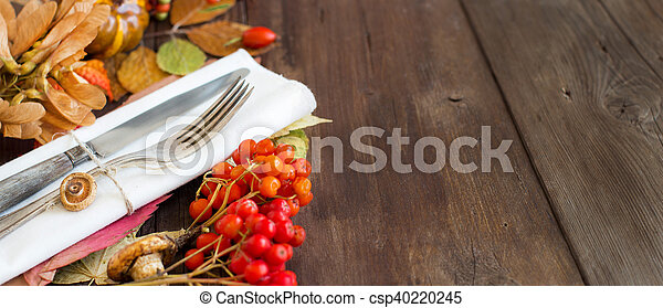 Autumn rustic table setting - csp40220245