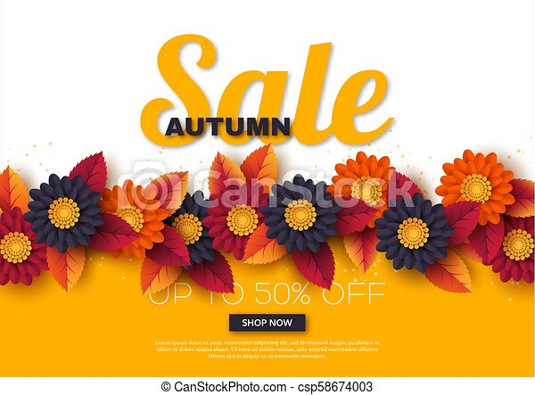 Autumn sale banner with 3d leaves and flowers  Yellow, white background -  template for seasonal discounts, vector illustration