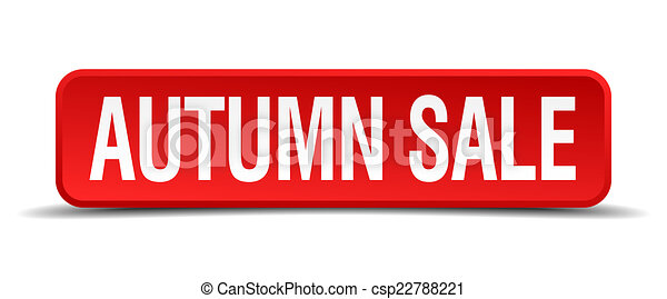 autumn sale red three-dimensional square button isolated on white background - csp22788221