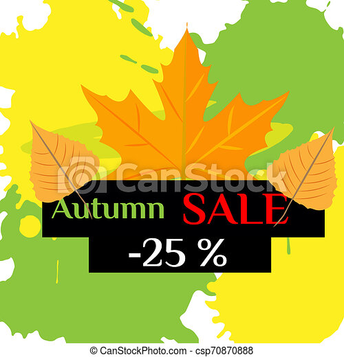 Autumn sale with yellow leaves on colored abstract spots - csp70870888