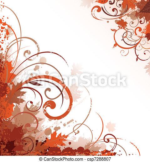 Autumn scroll design ornament - csp7288807
