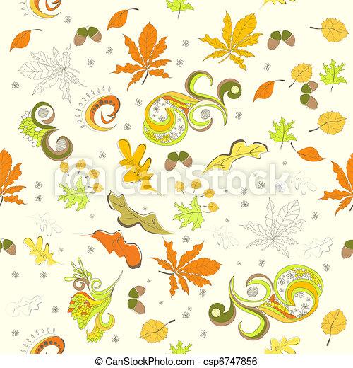 Autumn seamless background - csp6747856